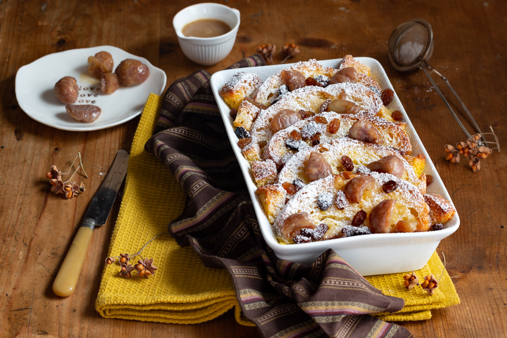 Bread and butter pudding con castagne caramellate al rum