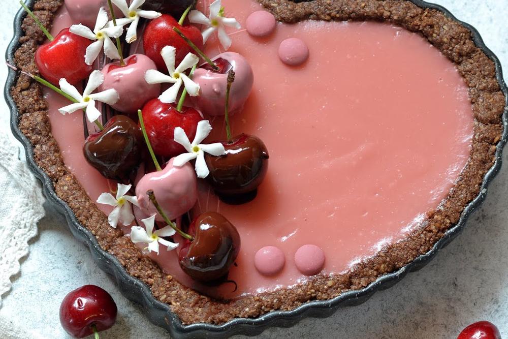 Crostata fit con crema di ciliegie